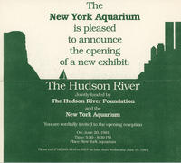 Invitation to exhibit opening The Hudson River at the New York Aquarium