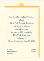 Invitation to 25th Anniversary Lunch for the New York Aquarium