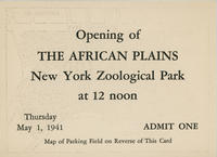 Admission ticket to opening of African Plains exhibit