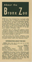 General information brochure for the Bronx Zoo, 1952