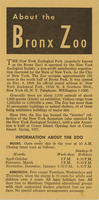 General information brochure for the Bronx Zoo, 1956