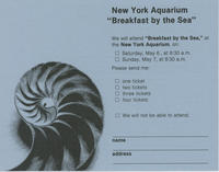 RSVP card to Breakfast by the Sea event, May 6 and 7, 1978, New York Aquarium