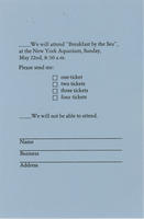 RSVP card to Breakfast by the Sea event, May 22, New York Aquarium