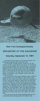 Leaflet for Breakfast at the Aquarium event September 12, 1981, New York Aquarium