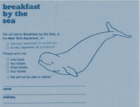 RSVP card to Breakfast by the Sea event, September 27 and 28, 1980, New York Aquarium