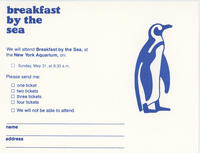 RSVP card to Breakfast by the Sea event, May 31, 1981, New York Aquarium