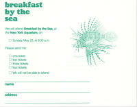 RSVP card to Breakfast by the Sea event, May 23, 1982, New York Aquarium