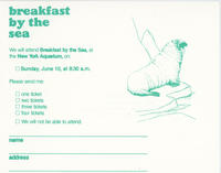 RSVP card to Breakfast by the Sea event, June 10, 1984, New York Aquarium