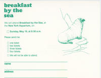 RSVP card to Breakfast by the Sea event May 19, 1985, New York Aquarium