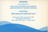 Raffle card for the benefit of New York Aquarium and Osborn Laboratories of Marine Sciences, 1981