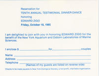 RSVP card for Tenth Annual Testimonial Dinner-Dance for the benefit of New York Aquarium