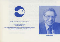 Biography of Irving Zeidman for Twelfth Annual Testimonial Dinner-Dance for the benefit of New York Aquarium