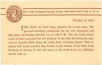 Postcard announcing to NYZS members the ground-breaking for the new Aquarium on October 24, 1954