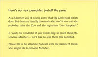 Pamphlet by the Membership Committee for prospective members of the New York Zoological Society