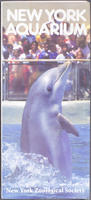 Brochure, New York Aquarium, Dolphin leaping out of water front cover, circa 1980-1989
