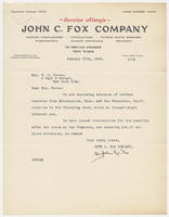 John C. Fox Company to Mrs. W.B. Force, January 27th, 1928.