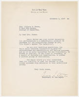 Edward L. Stanton, secretary to the mayor, city of New York, to Mrs. Juliana R. Force, December 1, 1927