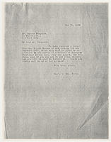 Sec'y to Mrs. Force to Duncan Ferguson, May 21, 1928