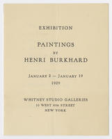 Paintings by Henri Burkhard : exhibition, January 2-January 19, 1929
