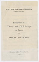 Exhibition of twenty new oil paintings on panels by Oscar Bluemner : November 4th to November 23rd, 1929