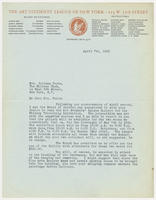 Arthur Hawkins Jr., chairman, exhibition committee, the Art Students' League of New York, to Mrs. Juliana Force, April 7th, 1928