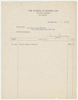 The Museum of Modern Art to Mrs. Harry Payne Whitney, December 28, 1929