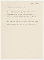 Memo for Miss Masterson, June 1929