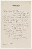 Dr. Mary Halton to Mrs. Force, May 31, 1927