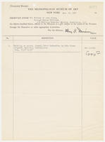 Temporary receipt from the registrar, Metropolitan Museum of Art, New York, Dec. 30, 1927