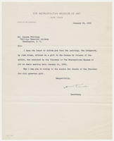 H.W. Kent, secretary, the Metropolitan Museum of Art, to Mr. Duncan Phillips, Phillips Memorial Gallery, January 19, 1928