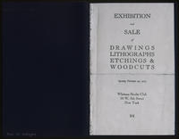 Exhibition and sale of drawings, lithographs, etchings & woodcuts : opening February 24, 1925