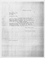 Sec'y to Mrs. Force to Mr. John C. Fox, November 19, 1927