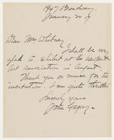 John Gregory to Mrs. Whitney, January 20, 1917