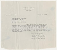 Ethel Fusfeld, sec'y to Mrs. Force to Miss Rosella Hartman, June 6, 1929