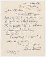 John Struss to Juliana R. Force, Nov. 10, 1927