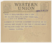 Russell Plimpton to Mrs. Juliana Force, Nov 21, 1927, 4:35 PM