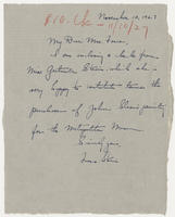 Frances Strain to Mrs. Force, November 10, 1927