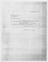Sec'y to Mrs. Force to Mr. John C. Fox, December 15, 1927