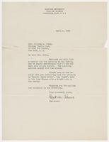 Beatrice Adams, registrar, Fogg Art Museum to Mrs. Juliana R. Force, April 6, 1928