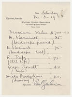 Brancusi value $700.00, Saturday Dec. 8, 1928