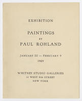 Paintings by Paul Rohland : exhibition, January 22-February 9, 1929