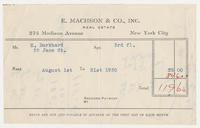 E. Machson & Co., Inc., Real Estate, New York City, to Mr. H. Burkhard, 35 Jane St., Apt. 3rd fl.