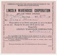 Lincoln Warehouse Corporation : Whitney Studio Gallery for Mr. Oscar Bluemner, Mar 18, 1930