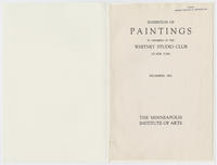 Exhibition of paintings by members of the Whitney Studio Club of New York : The Minneapolis Institute of Arts, December, 1927