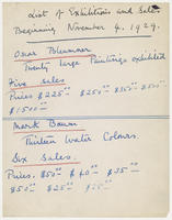List of exhibition and sales beginning November 4, 1929