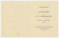 Paintings by A.E. Cederquist, March 5 to March 23, 1929
