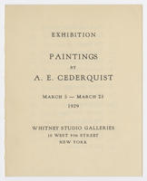 Paintings by A. E. Cederquist : exhibition, March 5-23, 1929