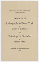 Lithographs of New York by Glenn O. Coleman and paintings in gouache by Ernest Fiene : exhibition, November 1st to November 24th, 1928