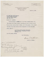 Susan A. Hutchinson to Mr. Frank van Vleet Tompkins, March 16, 1929