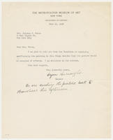 Bryson Burroughs, curator, the Metropolitan Museum of Art, Department of Paintings, to Mrs. Juliana Force, June 15, 1927